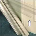 Electric stair lifts featuring folding hinge track to avoid blocking doors and passageways.