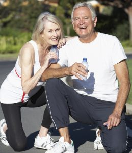 Seniors need to be careful to rest and drink plenty of water while exercising.