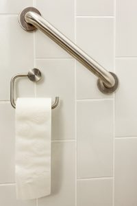 Grab bars around toilets and in showers help keep seniors safe.
