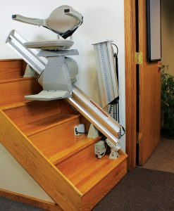 Stair lifts are brakceted down every few steps which are easily removed when you are done with your temporary lift chair rental.