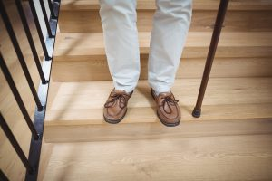 Seniors should always keep their shoes on to avoid falls.