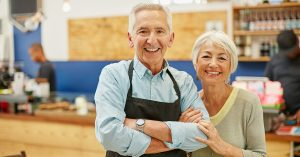 Seniors running a small franchise business
