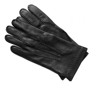Black leather glove for senior in wheelchair