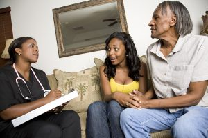 Caregiver being interviewed by family