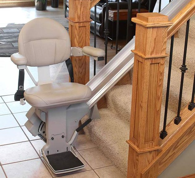 Bruno elite stair lift at bottom of stairs