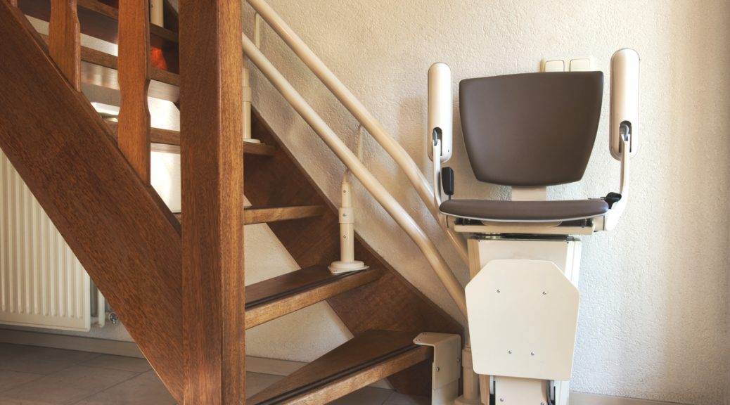 Automatic used stair lift on staircase