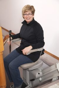Woman on Stair Lift Chair